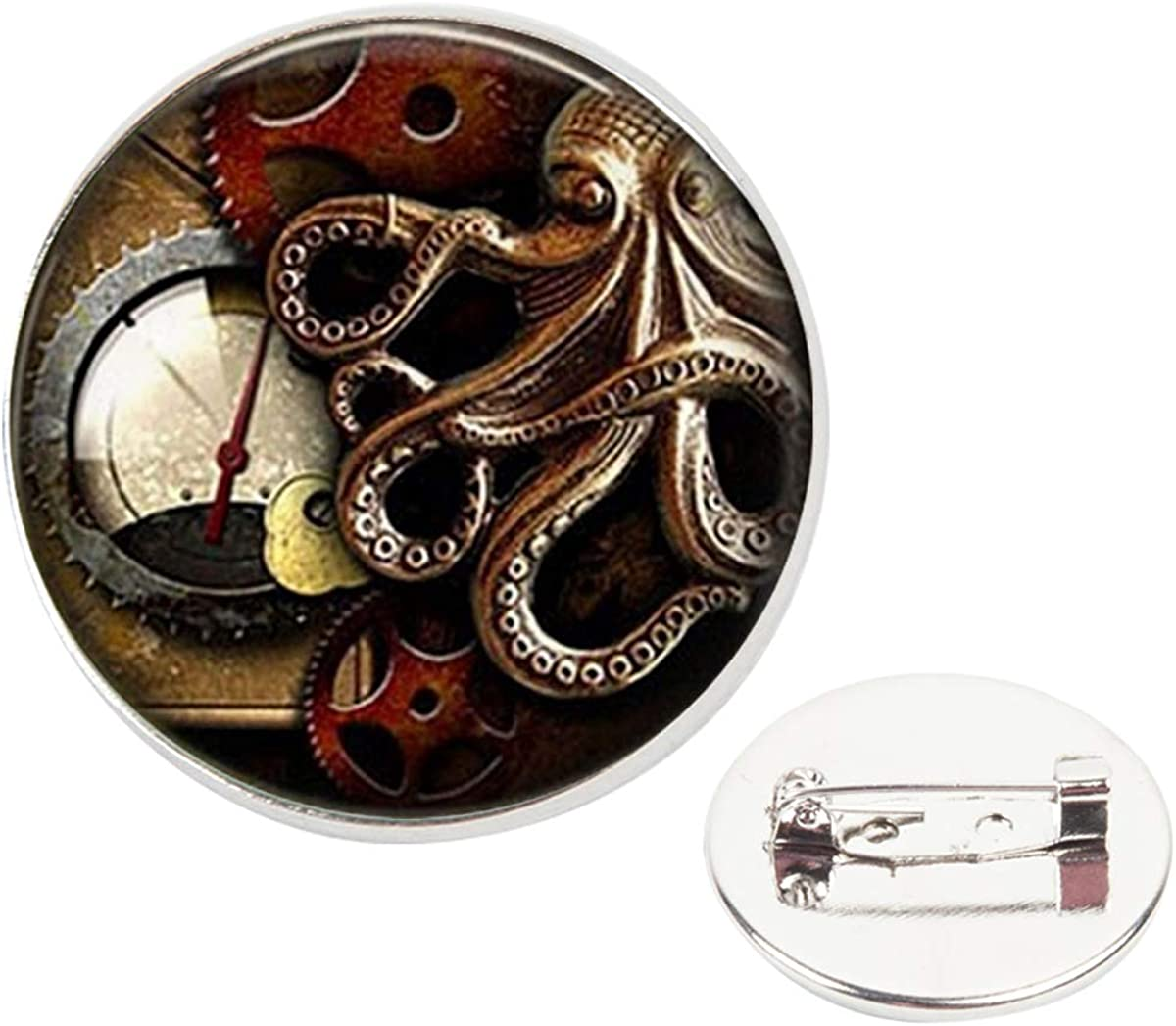 Pinback Buttons Badges Pins Octopus Clock Steampunk Lapel Pin Brooch Clip Trendy Accessory Jacket T-Shirt Bag Hat Shoe