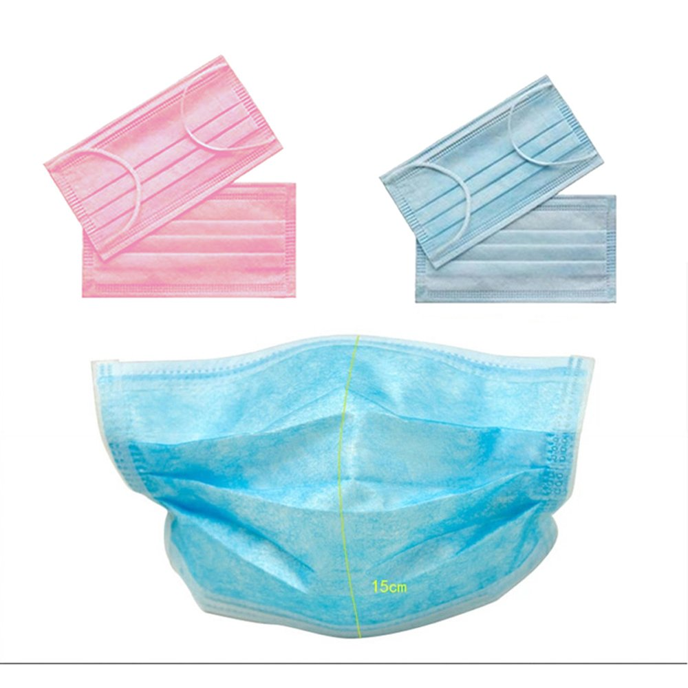 Enshey 50 Pcs Non-Toxic Disposable Dust & Filter Safety Masks Medical Dustproof Surgical Face Mouth Masks Ear Loop Medical Dental Surgical Hypoallergenic Breathability Comfort Germ Dust Protection
