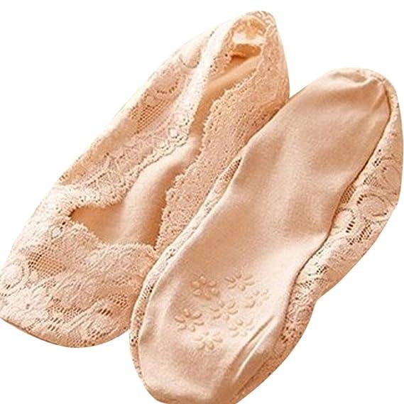 FIRSS Damen Füßlinge Spitze Ballerina Socken mit Rutschfeste