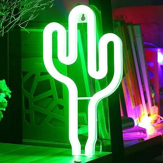Grüne Neon Leuchte Kaktus auf Standfuß Grün LED Licht Deko Geschenkidee