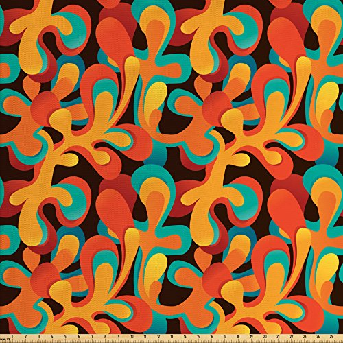 Orange Upholstery Fabric - Lunarable Contemporary Fabric by The Yard, Abstract Color Pattern Artistic Flourishes Summer Inspirations, Decorative Fabric for Upholstery and Home Accents, Orange Turquoise Brown