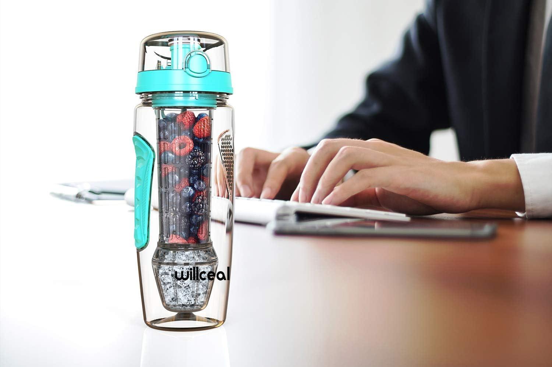 Sport Camping BPA-freies Tritan willceal Wasserflasche Mit Fruchteinsatz 945 ml Durable mit abnehmbarem Eisgel-Ball Flip-Deckel dichtes Design gro/ß