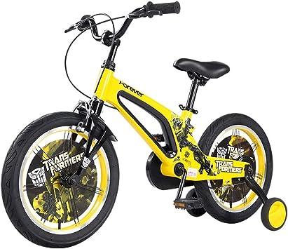 Bicicleta para niños de 16 Pulgadas, Bicicleta de 3 a 6 a 8 años, Bicicleta Amarilla Elegante, Bicicleta Azul para niñas, 16
