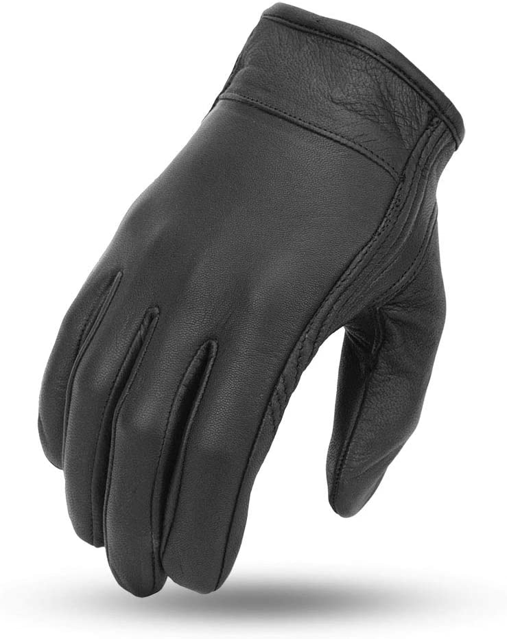 First Manufacturing Mens Light Lined Cruiser Motorcyle Leather Gloves With Reflective Skull Black, Medium