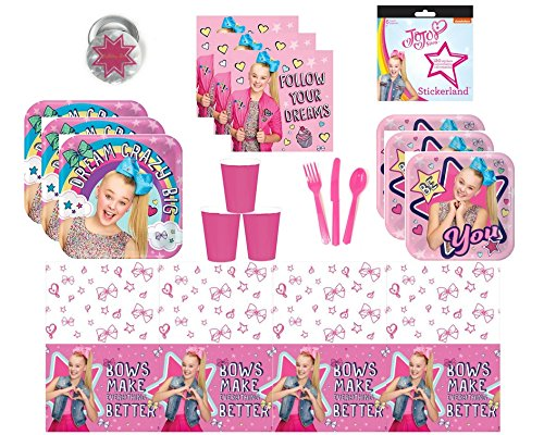 JoJo Siwa Party Supplies Kit for 16 Guests - Plates, Cups, Napkins, Table Cover, Cutlery, - Paper 7' Plates Pink Dessert