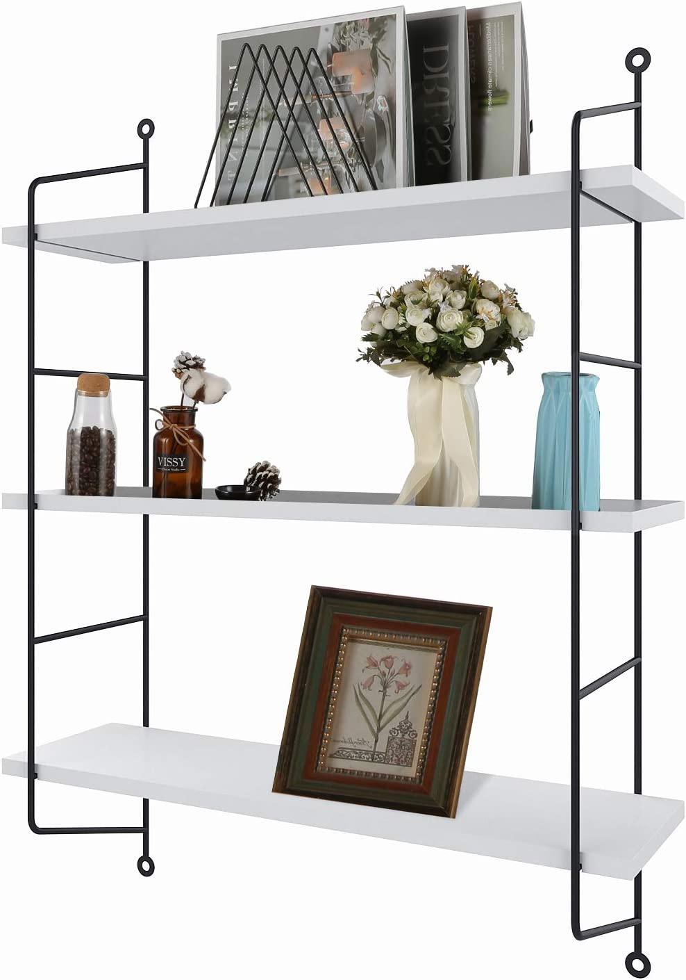 3-Tier Industrial Floating Shelves Wall Mounted Display Wall Shelf Storage Rack Wall Rack Holder Rack(White)