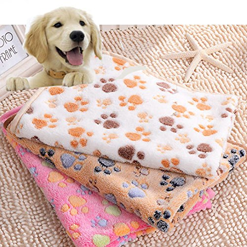Zeihui Large Small Pet Soft Paw Print Fleece Blanket for Dogs Puppy Cat Guinea Pig ,Color:Pink;Size:S: 76*52
