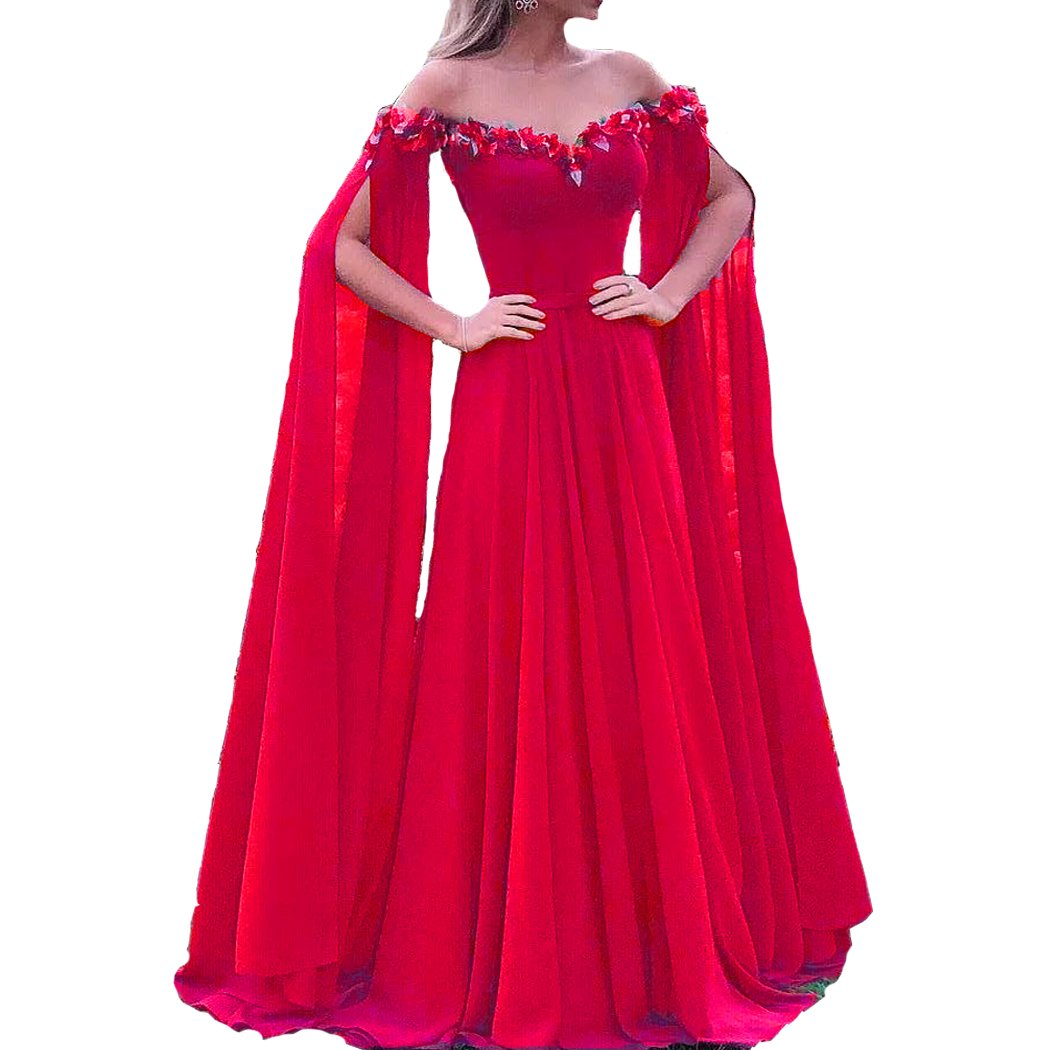 Fuchsia Lemai Floral Off The Shoulder Goddess Long Sleeves Cape Prom Evening Dresses