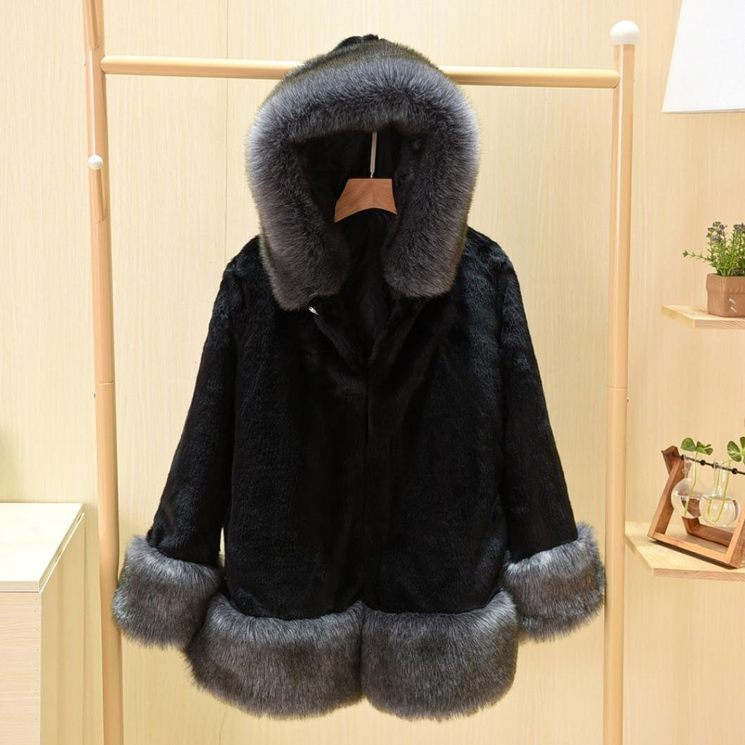 3c4347e8bf9 Sunward Women s Winter Warm Thick Parka Faux Fur Jacket Coat S - 5Xl  X-Large Black  Amazon.in  Clothing   Accessories