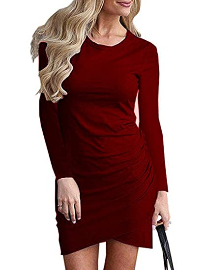 54df3e40f3 Halife Womens Work Casual Sheath Dress Solid Color Irregular Hem Bodycon  Mini Dress Wine Red M at Amazon Women s Clothing store