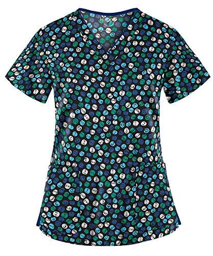 Women's Swirly Dots Black V-Neck Stretch Print Scrub Top (XS-3X) (XX-Large) ()