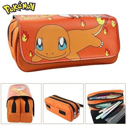 Estuche escolar con 2 compartimentos, diseño de Charmander de Pokémon Go: Amazon.es: Oficina y papelería