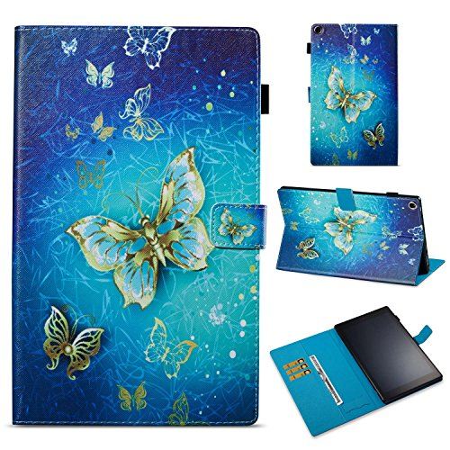 Fire HD 10 Case, Macoku Amazon Kindle Fire HD 10(2017 Release, 7th Generation) Folio Case Ultra Slim PU Leather Smart Cover Folding Stand Case with Auto Wake / Sleep (Golden Butterflies)