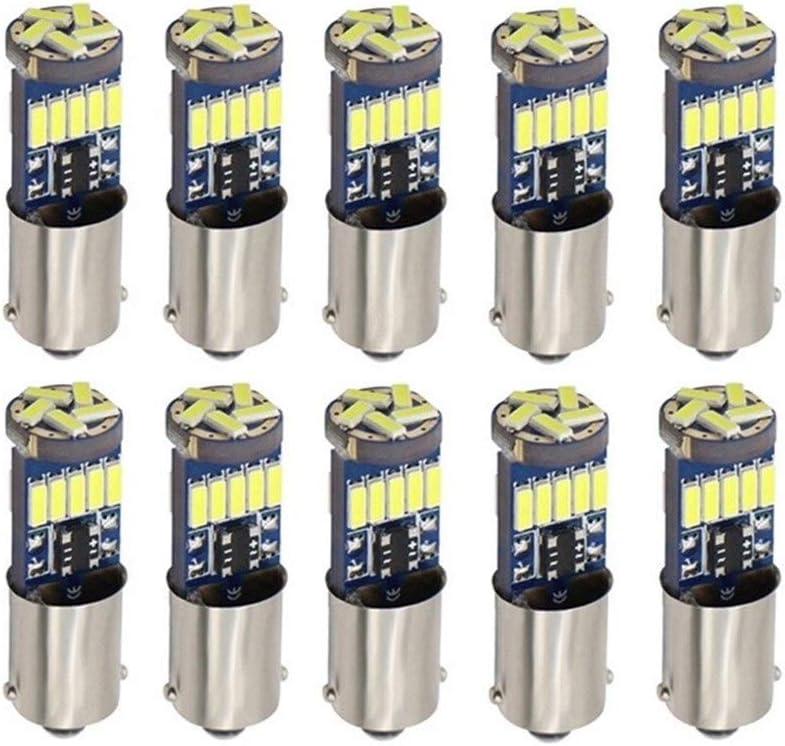 ESORST Multifonction 10pcs Ba9s T4W LED Ampoules Voiture Blanche 4014 15 SMD LED T11 H6W Automatique Int/érieur D/ôme//Porte//marqueur c/ôt/é Lampe 12V Canbus /Économie d/énergie et Durable