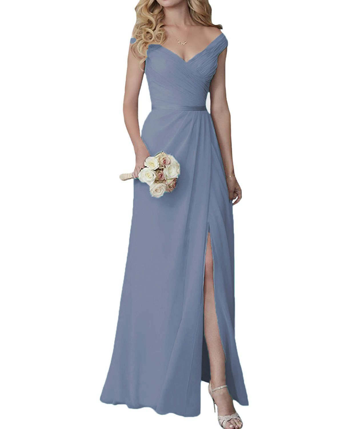 Cute V-Neck Bridesmaid Dresses Slit Long Chiffon Wedding Evening Gown