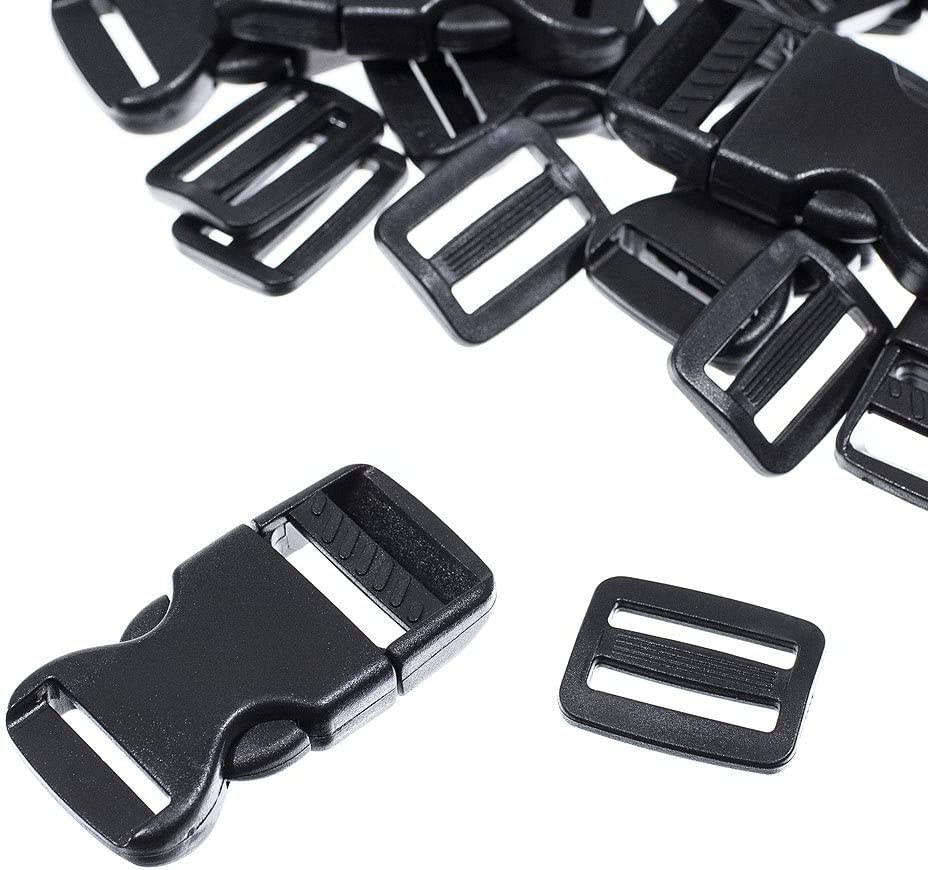 15 Set with 1 Roll 5 Yards Nylon Webbing Straps Backpack Repair Craft County 1-Inch Plastic Flat Side Release Buckles and Tri-Glide Slides Luggage Straps Use for DIY and More Pet Collars
