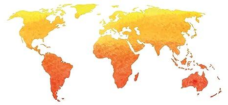 Pegatina de pared Salón Mapa del mundo Acuarela en amarillo y naranja Continentes para encolado tierras
