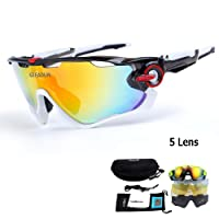 Polarized Sports Sunglasses UV400 Protection Cycling Glasses With 5 Interchangeable Lenses for Cycling, Baseball ,Fishing, Ski Running ,Golf