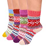 #10: AiTrip Women's Winter Socks Vintage Style, Pack of 4, Soft Warm and Comfort, Girls Thick Wool Fuzzy Winter Crew Socks