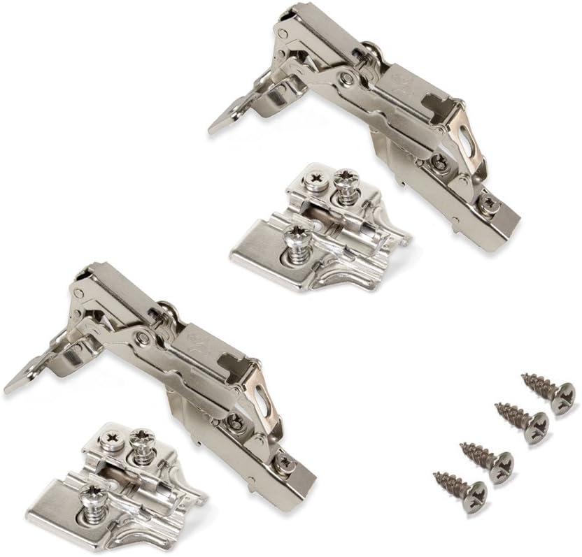 Emuca 1015307 Pack de 2 bisagras de cazoleta Ø35mm 165° cierre suave para puerta semi-solapada y suplementos Euro con regulación excéntrica