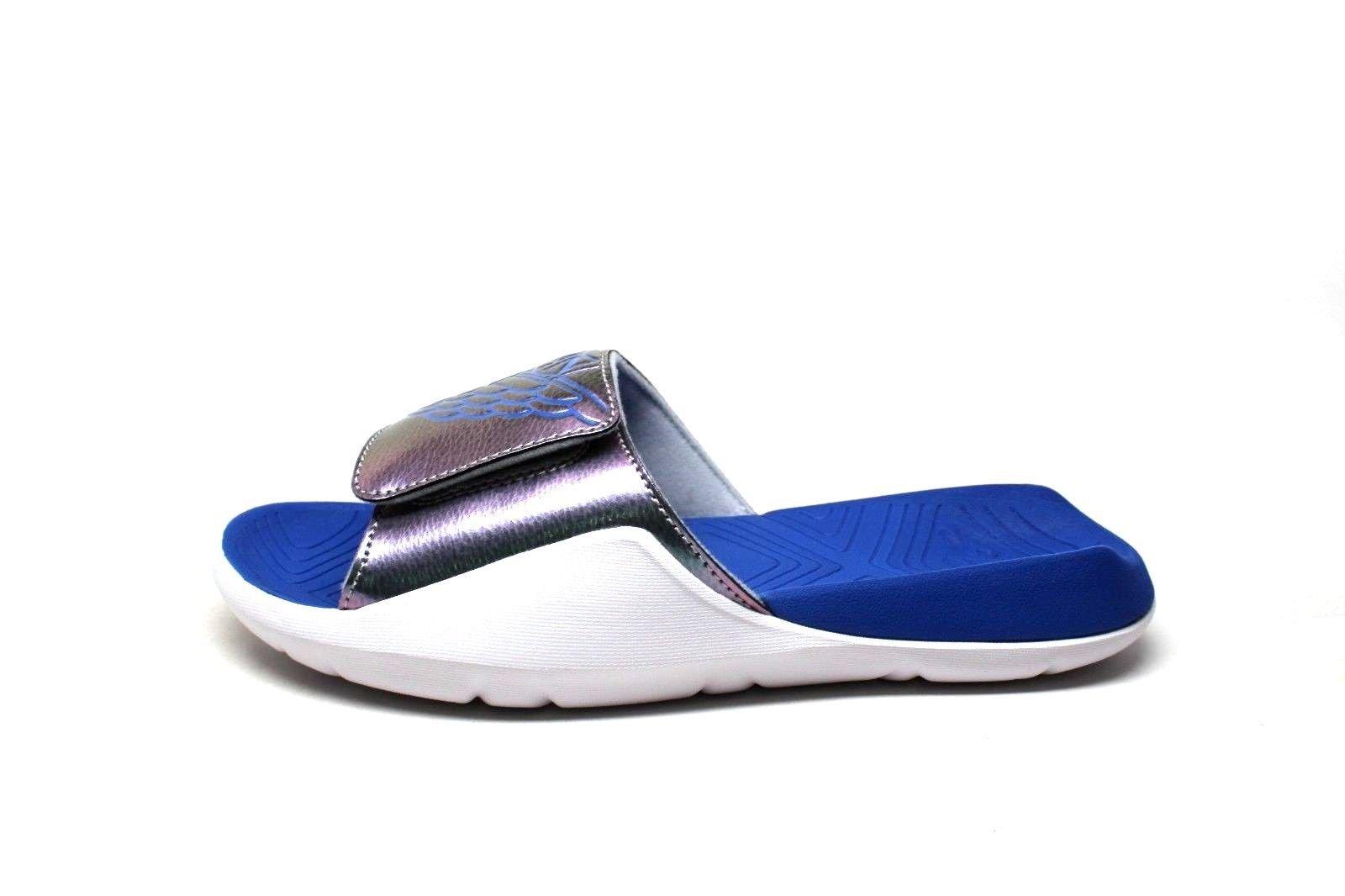 Grade School Air Jordan Hydro 7 Retro Slide Sandals Wolf Grey/Hyper Royal/White (4 M US Big Kid)