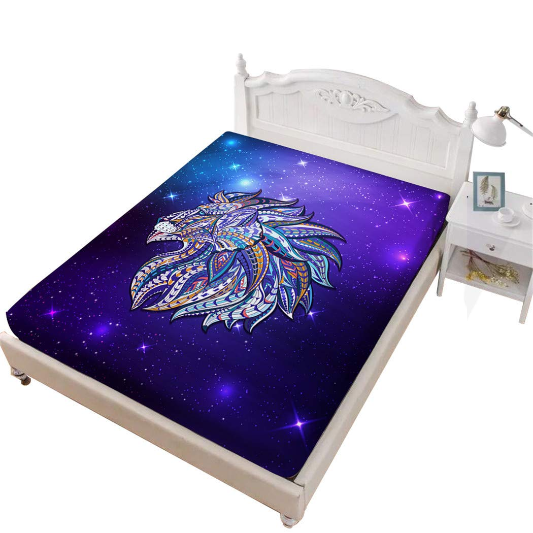 Jessy Home Lion Bed Fittied Sheet King,3D Bedding Bedroom Decor Gifts for Girls Purple