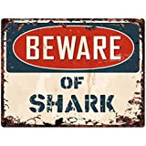 "Beware of SHARK Chic Sign Vintage Retro Rustic 9""x12"" Metal Plate Store Home Room Wall Decoration"