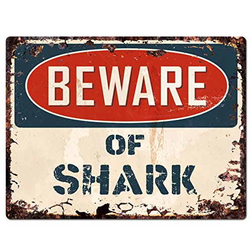 Beware of SHARK Chic Sign Vintage Retro Rustic 9