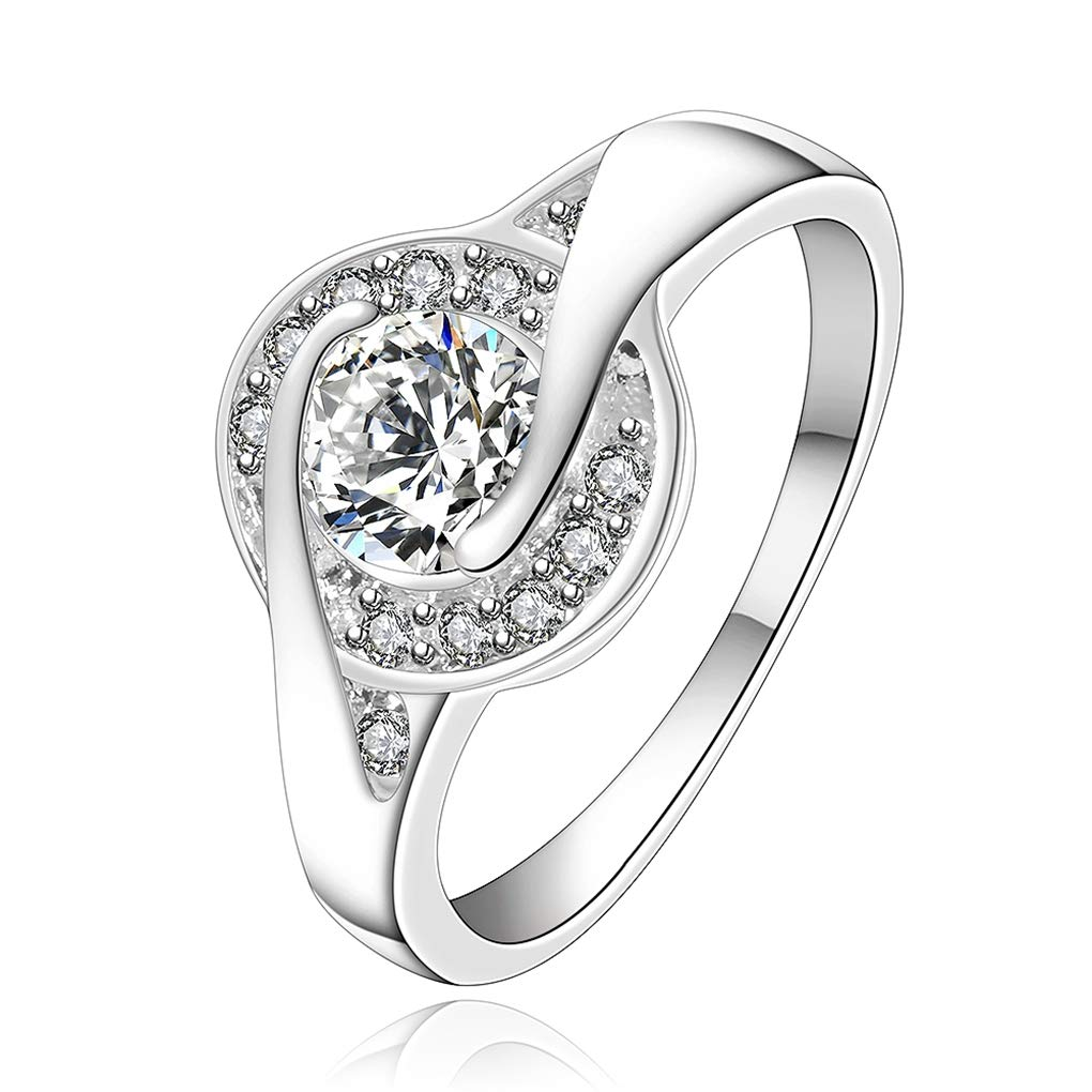 FENDINA Sterling Silver Plated Round 2.5ct CZ Classic Solitaire Wedding Engagement Ring (Size7 to 8)