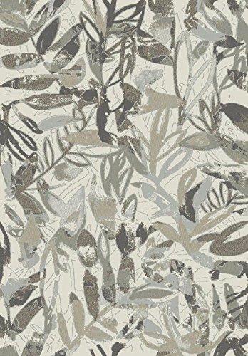 Amazon De Pisa Teppich 3 X 4 Grau Blau Beige Muster Modern Leaves