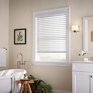 Home Decorators Collection White Cordless 2 in. Faux Wood Blind - 34 in. W x 72 in. L (Actual Size 33.5 in. W x 72 in. L)