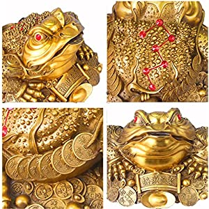 QOCOO Oriental Chinese Mascot Feng Shui and Home Decoration Statue, Golden Three Legged Toad Money Frog with Lucky Ancient Coins, Attract Wealth, Fortune, Affluence, Good Luck & Wishes