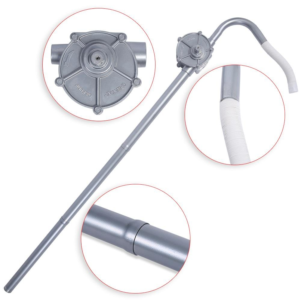 Aluminio Bomba de Barril de manivela Tubo de aspiraci/ón hidr/áulico y Manguera Flexible Bomba di/ésel SOULONG Bomba Manual de manivela Potencia 29 L//min 124 cm Velocidad de 70 RPM