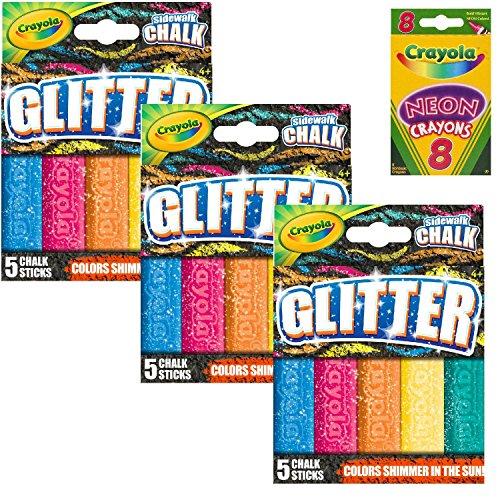 k, Glitter Sidewalk Chalk, Summer Toys, 5 Count (3-Pack Bundle) ()