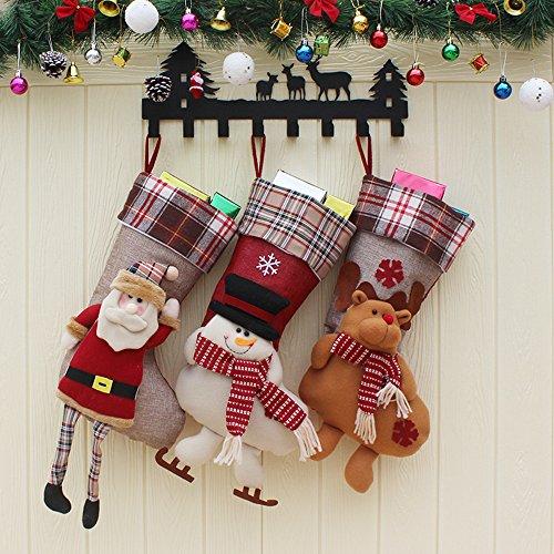 mas Stockings -3 Pcs Set of Santa, Snowman, Reindeer Character 3D Cute Cartoon Plush Christmas Stockings Decoration Gift Bag (Stockings-plaid santa Family) (Plush Snowman Christmas Stocking)
