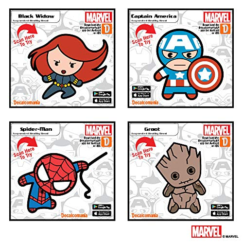 Marvel Avengers Set of 4 Kawaii Augmented Reality Vinyl Decal Bundle Black Widow, Captain America, Spider-Man, Groot