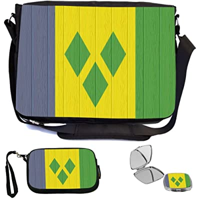 Rikki Knight Saint Vincent And The Grenadines Flag Distressed Wood Design COMBO Multifunction Messenger Laptop Bag - with padded insert for School or Work - includes Wristlet & Mirror