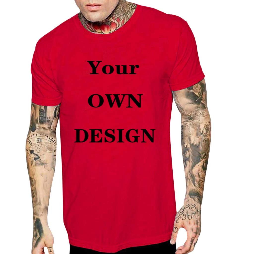 Gibobby Mens Shirts, Casual Letter Print Short Sleeve Solid Color O-Neck Fashion Tops Blouse T-Shirts for Summer Holiday Red