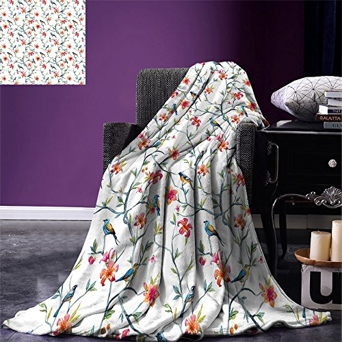 smallbeefly Watercolor Lightweight Blanket Birds on Branches with Flowers and Leaves Scenes from Nature Cherry Tree Image Digital Printing Blanket Multicolor