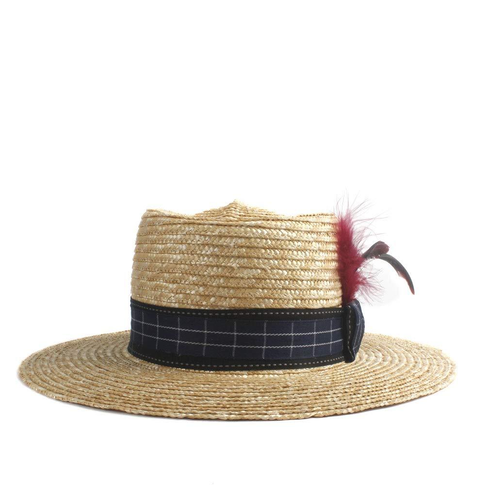 MUMUWU Sun Hat Elegant Men Ladies Straw Hat Summer Three Red Feather Decoration Flat Sunscreen Beach Hat (Color : 1, Size : 56-58CM)