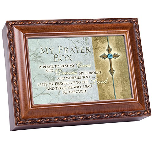 Cottage Garden My Prayer Box Place to Rest Cares Woodgrain Rope Trim Jewelry Music Box Plays Friend in Jesus