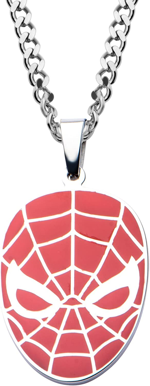 Marvel Comics Men's Stainless Steel Spider-Man Red Face Pendant with Chain Necklace, 22""