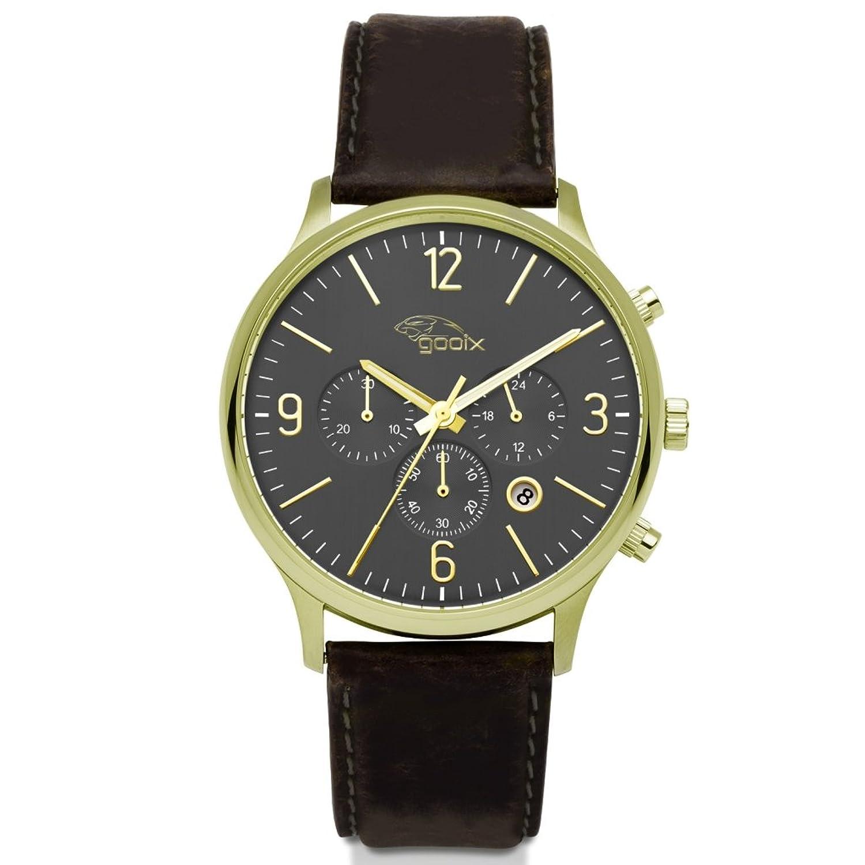 gooix HUA-05919 Uhr Herrenuhr Lederarmband vergoldet 5 bar Analog Datum Braun