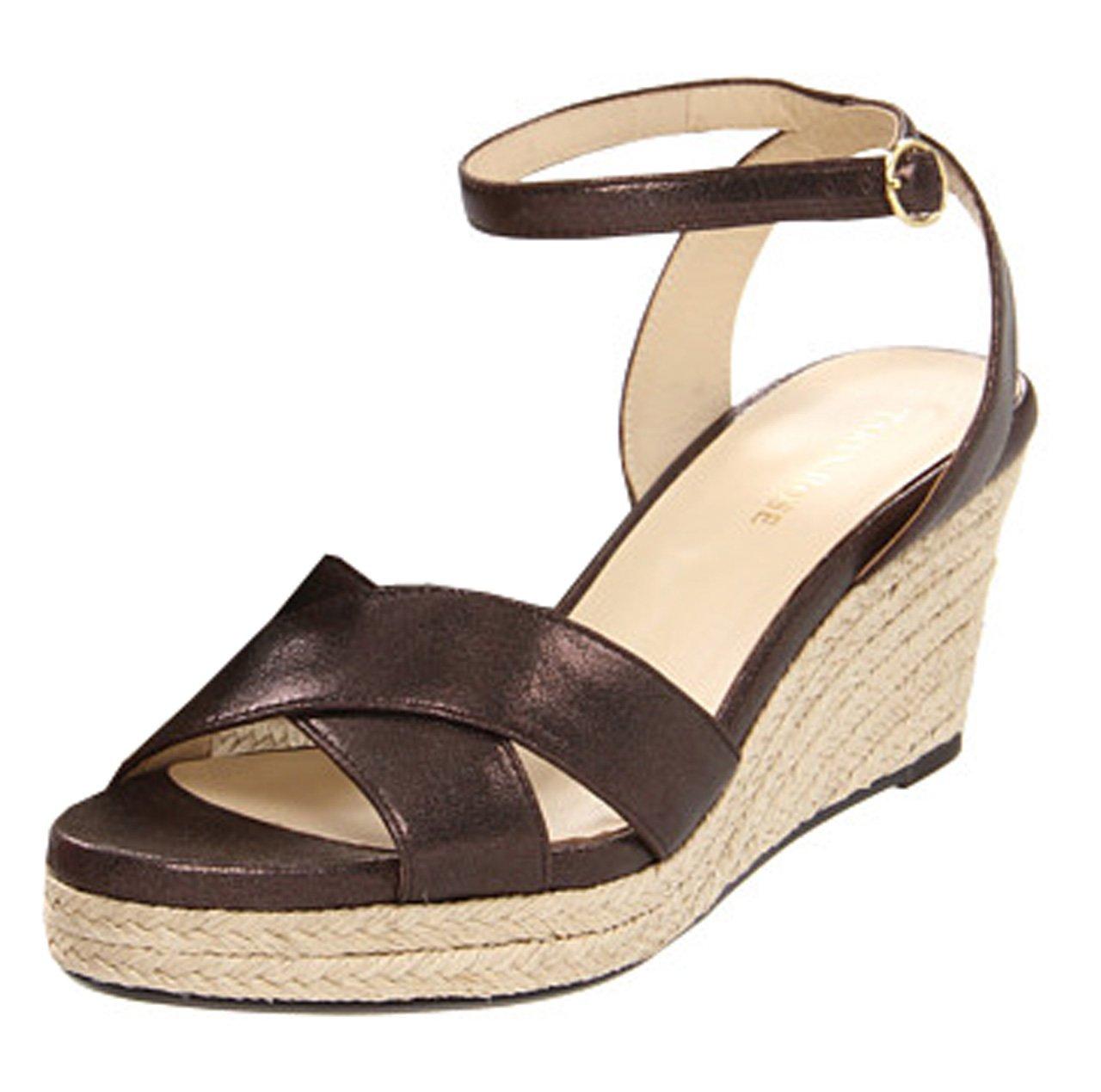 Taryn Rose Women Kellen Wedge Sandals B00847M4IM 9 B(M) US Chocolate Metallic Suede