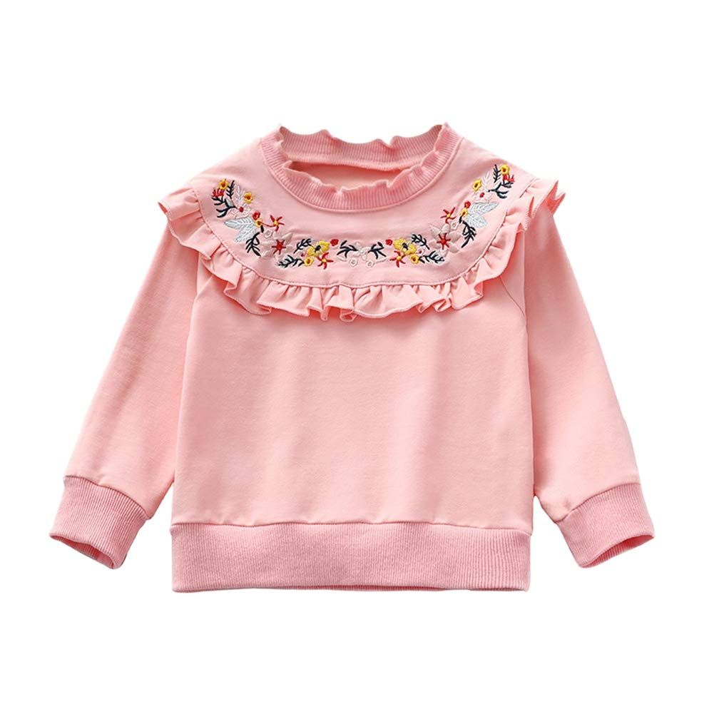 BOBORA Children Girls Sweatshirt Kids Cotton Long Sleeved Embroidered Flowers Frilly Tops Sweater 3-7Years BO-UK870