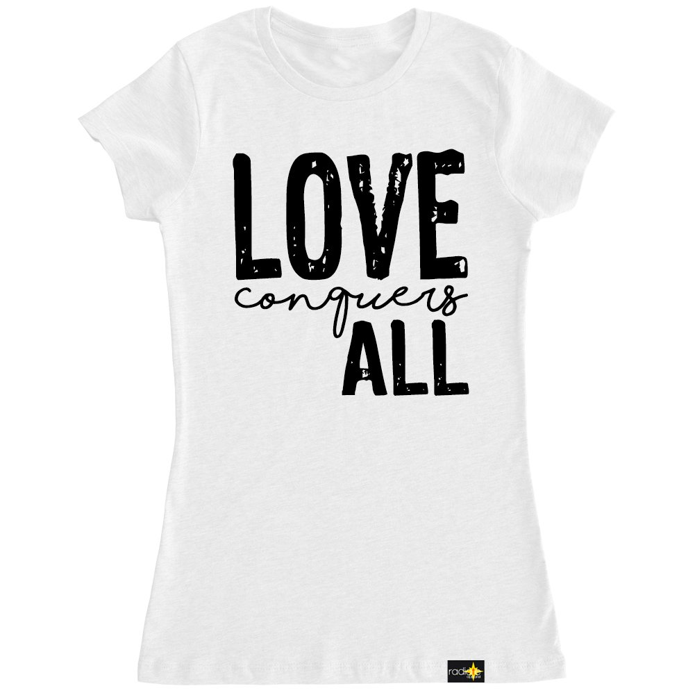 Radiate Apparel Women's Love Conquers All T Shirt-XL White by Radiate Apparel (Image #1)