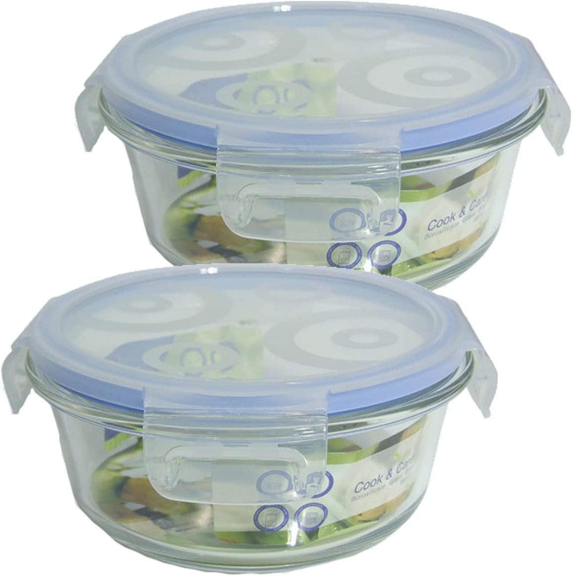 Bittamina Set de 2 Tuppers de Cristal Redondos de 600 ML.: Amazon ...