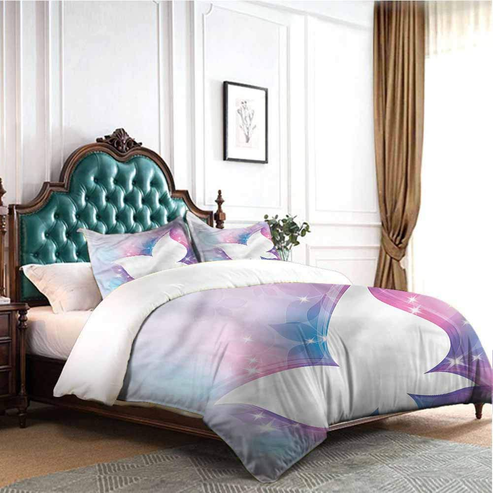 Jktown Butterfly Printed Pattern Soft Cozy and Durable Bedding Set White Floral Magical Bedding Set for Men, Women, Boys and Girls Queen