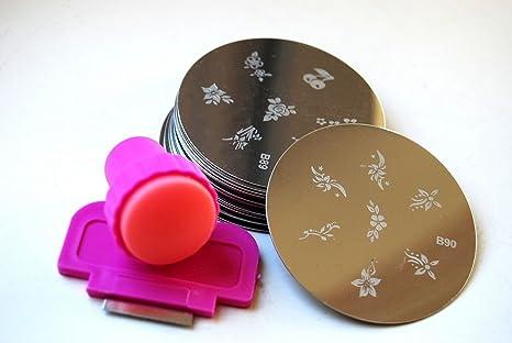 50 x Nailart Nail Art Stamping Metallplatten Schablonen Fingernagel mit Stamp & Scraper Tool