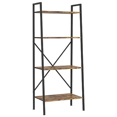 IRONCK Industrial Bookshelf, 4-Tier Ladder Shelf, Storage Shelves Rack Shelf Unit, Wood Look Accent Furniture Metal Frame, Vintage Home Office Furniture for Bathroom, Living Room, Rustic Brown